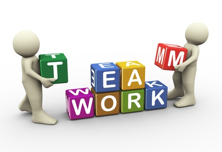 business team meeting: 3d render men placing team work text cubes. 3d illustration of human character Stock Photo