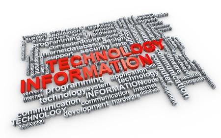 Illustration of information technology Wordcloud Stock Illustration - 14520232