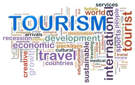 agence de voyage: Illustration de wordcloud représentant concept de tourisme