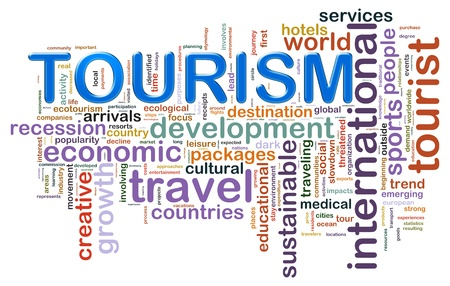 agencies: Illustration of wordcloud representing concept of tourism