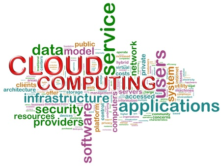 word cloud: Illustration of wordcloud related to concept cloud computing