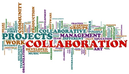 project team: Illustration of wordcloud representing cities concept of collaboration