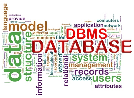 data management: Illustration of wordcloud of dbms (database management system)