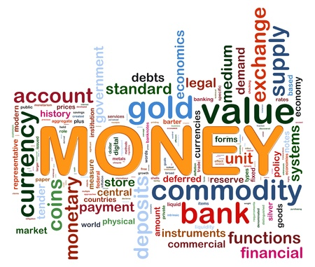 Illustration of wordcloud representing words related to money