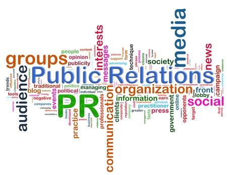 relaciones publicas: Ilustración de wordcloud concepto de representación de PR (relaciones públicas)