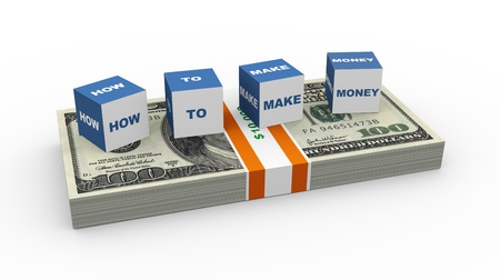 net worth: 3d render of boxes  how to make money  on the US dollar pack