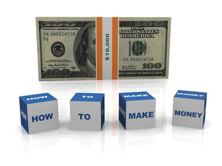 net worth: 3d render of dollar bill and boxes  how to make money