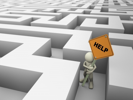 3d rendering of man trap in the maze holding help sign board, 3d illustration of human character