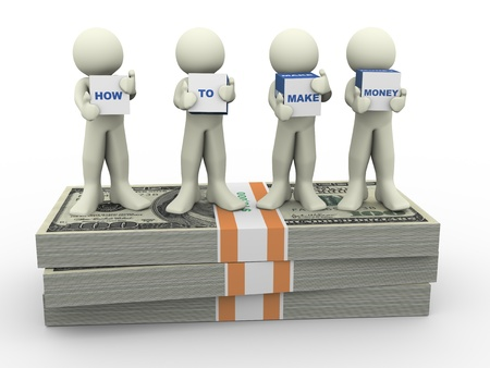 3d render of men holding text boxes  how to make money  3d illustration of human character illustration