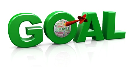 business goal: 3d render of word goal with dart and goal wordcloud