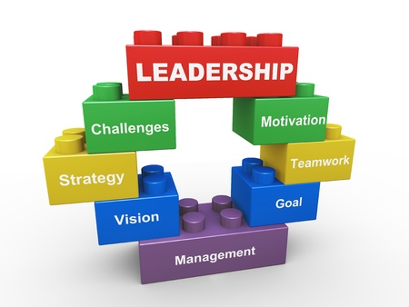 liderazgo: 3d de concepto de liderazgo presentado con juguetes infantiles bloques