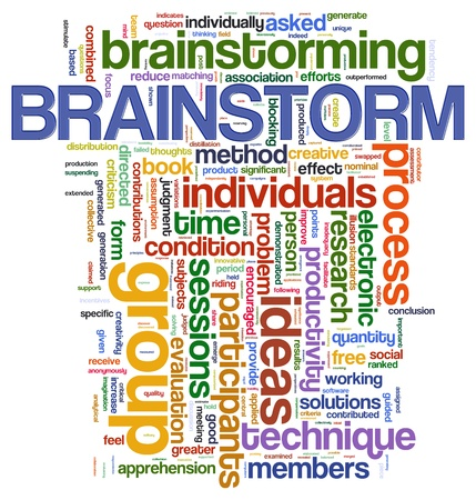 Illustration of wordcloud representing words related to brainstorming  illustration