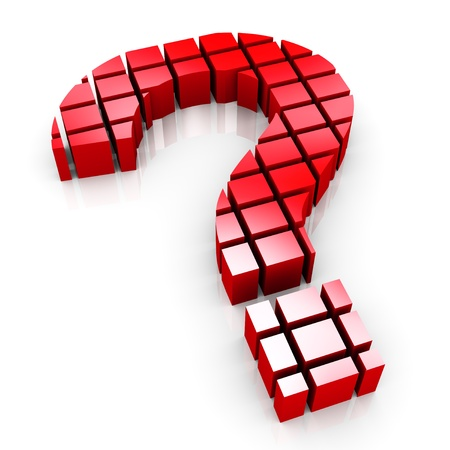 interrogation point: 3d render of question mark symbol made of cubes blocks