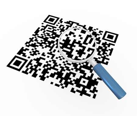 quick response: 3d render of magnifying glass hovering over qr (quick response) code. Illustration of two-dimensional matrix barcode