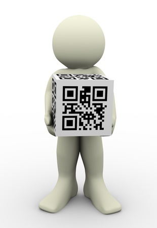 response: 3d render of man holding cube of qr (quick response) code. 3d Illustration human character and 2d matrix barcode Stock Photo
