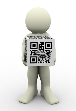 bar code reader: Render 3D de cubo hombre que sostiene el c�digo QR (Quick Response). Ilustraci�n 3d car�cter humano y c�digos de barras 2D matriz Foto de archivo