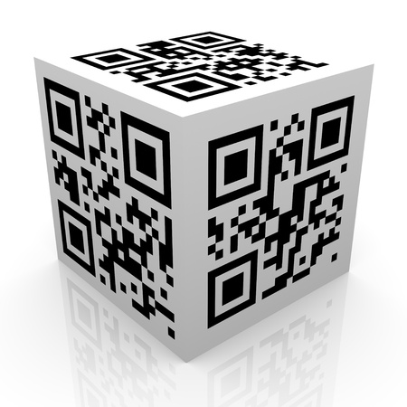 quick response: 3d render of matrix barcode  qr (quick response) code cube. Illustration of two-dimensional matrix barcode