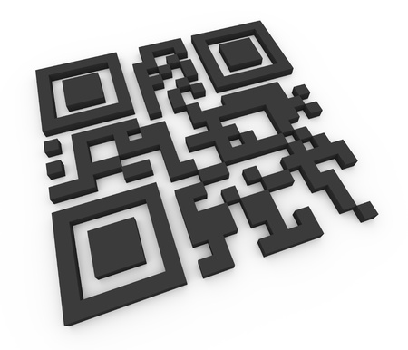 quick response: 3d render of qr (quick response) code. Illustration of two-dimensional matrix barcode