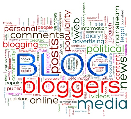 Illustration of wordcloud representing words related to blog illustration