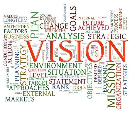vision mission: Illustration of wordcloud representing words related to vision