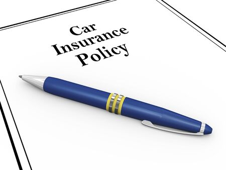 policy document: 3d render of pen and car insurance policy document