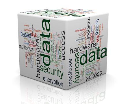 3d render of data protection wordcloud cube. Concept of securing and protecting sensitive data. photo
