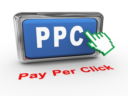 advertiser: 3d render of hand cursor and PPC - pay per click button Stock Photo