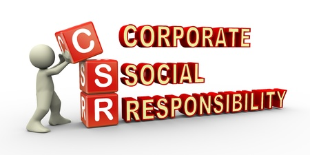 corporate responsibility: 3d render of man placing csr (corporate social responsibility) cubes. 3d illustration of human character. Stock Photo