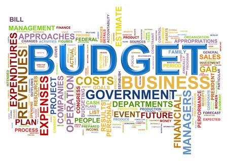 budget crisis: Illustration of wordcloud representing words related to budget.