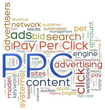 ppc: Illustration of wordcloud representing concept of PPC - pay per click