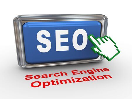 3d render of hand cursor and seo - search engine optimization Stock Photo - 16610335