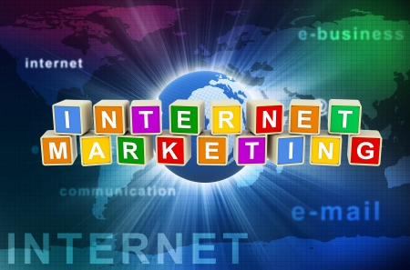 3d render of colorful text boxes internet marketing on hi-tech global communication background