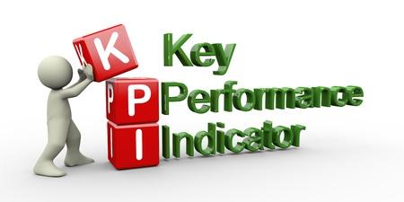 kpi: 3d render of man placing kpi   key performance indicator   cubes