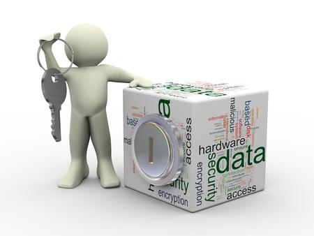 защита: 3D визуализации человек, занимающих ключевые положение с защитой данных БОЛЬШАЯ куб Концепции обеспечения и защиты конфиденциальных данных Фото со стока