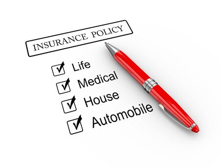 3d illustration of pen on type of insurance policy illustration