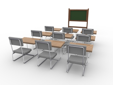 training course: 3d rendering of an empty classroom