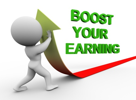 boosting: 3d illustration of person pushing arrow upward representing conept of boosting earning.