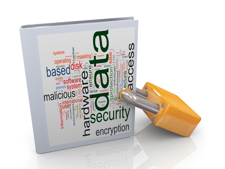 3d illustration of data wordcloud book protected with padlock. Concept data protection and security.