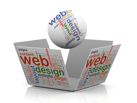 3d rendering of sphere and open cube wordcloud word tags representing concept of web design Stock Photo - 17098024
