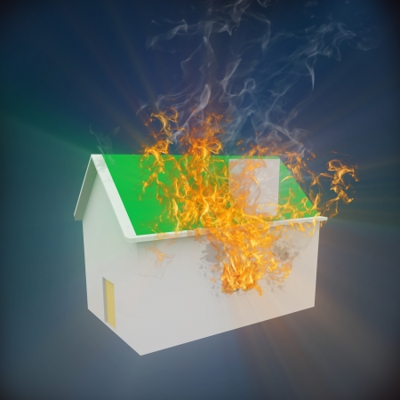 building fire: 3d rendering of house on fire.