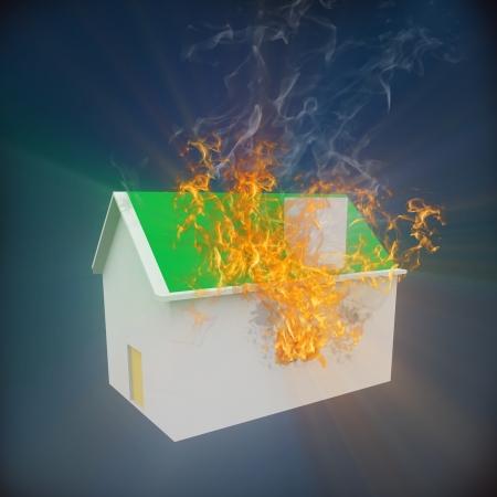 incendio casa: Representación 3D de la casa en llamas. Foto de archivo