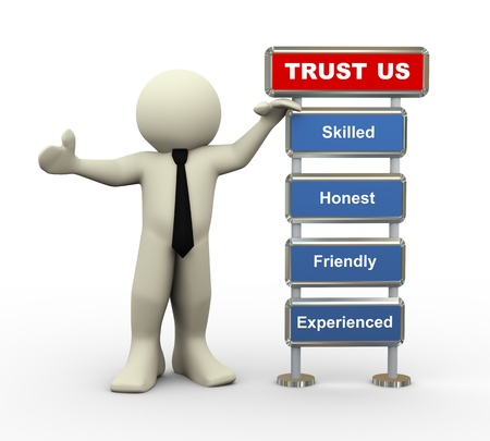 cooperate: 3d render of man standing with trust us feature list