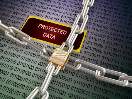 elementos de protección personal: 3d ilustración de candado, cadena y los datos protegidos binarios. El concepto de privacidad, protección de datos y cifrado de la contraseña protegida
