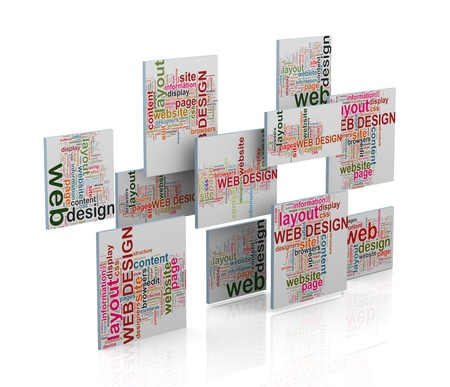 3d rendering of various wordcloud word tags of web design concept photo