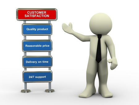 3d illustration of man standing with various necessary key features for customer satisfaction. Фото со стока