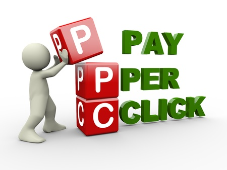3d person placing ppc pay per click cubes. 3d human people character illustration Stock Photo