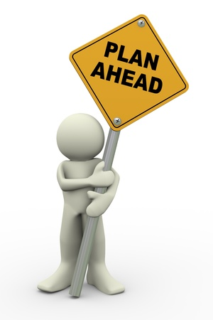 foresight: 3d render of person holding plan ahead road sign.