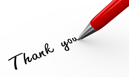 thanks you: 3d render of a pen writing thanks you not on white paper background Stock Photo