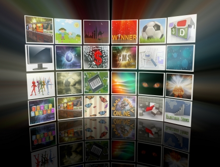 3d render of collection of images, forming video wall display. photo