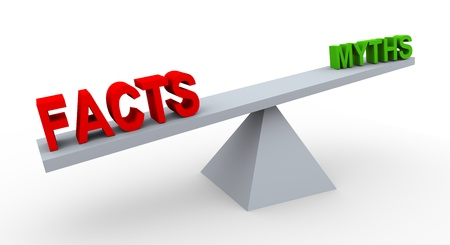 in fact: 3d render of word facts and myths on balance scale. Stock Photo